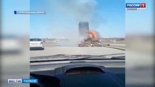 На новом путепроводе в Тамбове загорелся грузовик с мусором
